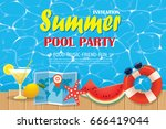 pool party invitation poster... | Shutterstock .eps vector #666419044