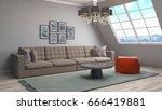 bedroom interior. 3d... | Shutterstock . vector #666419881