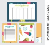 daily and weekly planner in... | Shutterstock .eps vector #666421237
