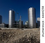 View of an oil storage facility under construction. - stock photo