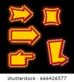 glowing arrow with blub set.... | Shutterstock . vector #666426577