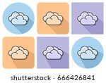 outlined icon of  clouds ... | Shutterstock .eps vector #666426841