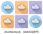 outlined icon of rain with hail ... | Shutterstock .eps vector #666426895