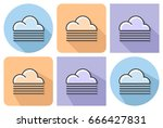 outlined icon of foggy weather... | Shutterstock .eps vector #666427831