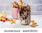 vanilla and raspberry extreme... | Shutterstock . vector #666428101