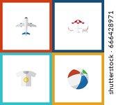 flat icon beach set of aircraft ... | Shutterstock .eps vector #666428971