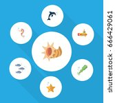 flat icon nature set of tuna ... | Shutterstock .eps vector #666429061