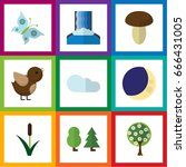 flat icon ecology set of... | Shutterstock .eps vector #666431005