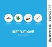 flat icon farm set of bailer ... | Shutterstock .eps vector #666431749