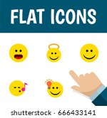 flat icon face set of angel ... | Shutterstock .eps vector #666433141