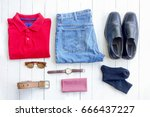 accessories man clothes put on... | Shutterstock . vector #666437227