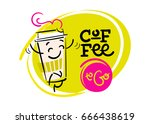 coffee to go. funny and... | Shutterstock .eps vector #666438619
