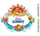 vector  colorful  summer... | Shutterstock .eps vector #666439675