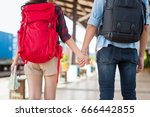 loving tourists with backpack...   Shutterstock . vector #666442855