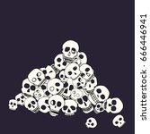 Hand Drawn Skull Pile. Stock...