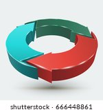 three arrows circle 3d style.... | Shutterstock .eps vector #666448861