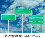blank road sign mockup on... | Shutterstock .eps vector #666449179