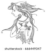 girl with flowers and bird ... | Shutterstock .eps vector #666449347