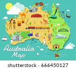 australia map with colorful... | Shutterstock .eps vector #666450127