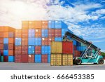 logistic concept   container... | Shutterstock . vector #666453385
