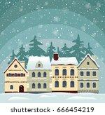flat winter cityscape. snowy...   Shutterstock .eps vector #666454219