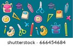 school elements clip art set in ... | Shutterstock .eps vector #666454684
