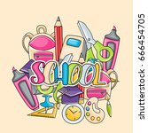 school elements clip art doodle ... | Shutterstock .eps vector #666454705