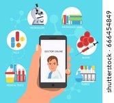 doctor online concept vector... | Shutterstock .eps vector #666454849