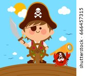 pirate boy captain sailing on... | Shutterstock .eps vector #666457315