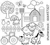 farm animals. black and white... | Shutterstock .eps vector #666457327
