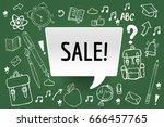 school supplies sale. hand... | Shutterstock .eps vector #666457765