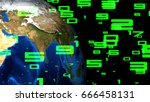 abstract network connection... | Shutterstock . vector #666458131