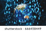 abstract network connection... | Shutterstock . vector #666458449
