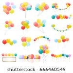 group of colour glossy helium... | Shutterstock .eps vector #666460549