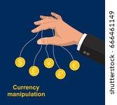 the hand manipulating bank...   Shutterstock .eps vector #666461149