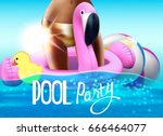 pool party background with... | Shutterstock .eps vector #666464077