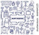 antiques doodle hand drawn set... | Shutterstock .eps vector #666464125