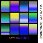 set of bright sky gradients.... | Shutterstock .eps vector #666464545