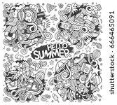 line art vector hand drawn... | Shutterstock .eps vector #666465091