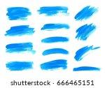 blue watercolor brush strokes.... | Shutterstock .eps vector #666465151