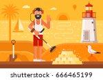 beach treasure hunter using... | Shutterstock .eps vector #666465199