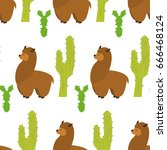 seamless pattern with llamas... | Shutterstock .eps vector #666468124