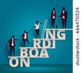 business onboarding concept. hr ... | Shutterstock . vector #666470524