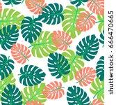 summer exotic seamless pattern... | Shutterstock .eps vector #666470665