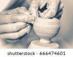 girl sculpts in clay pot... | Shutterstock . vector #666474601
