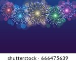 colorful fireworks background.... | Shutterstock .eps vector #666475639