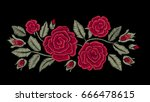 Stock vector embroidered flowers chic red roses fashion design vector floral print 666478615