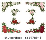 set of bouquet roses different... | Shutterstock .eps vector #666478945