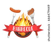 barbecue utensils with steak of ... | Shutterstock .eps vector #666479449