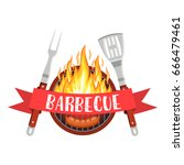 barbecue utensils with steak of ... | Shutterstock .eps vector #666479461